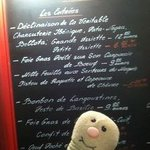 Menu options (and our stuffed travel companion)