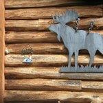 Steel moose outline next to front door
