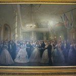 Fanciful painting of a ball at confederation conference