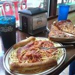 Spaghetti & pizza at the window bar