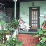 My wife on the front porch.