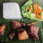 Pork Ribs, Rice and Vegetables.