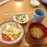 Green salad, cucumber salad and miso soup