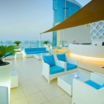 Outside terrace which overlooks The Palm Jumeirah & Arabian Gulf