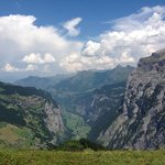 view facing down the lauterbrunnen valley from tanzbodeli