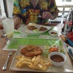 Chicken & Chips in foreground, Nasi Goreng in background