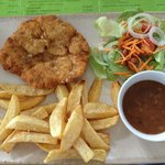 Freshly crumbed chicken breast with hand-cut chips and gravy