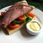Ham open sandwich