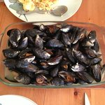 Diner with mussels picked from Trevone bay