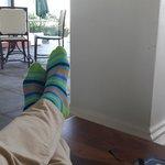 Bright socks on the verandah.