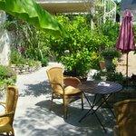 beautifully gardened patio where you eat breakfast