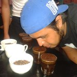 Tito coffee test in Fat Cat Coffee House