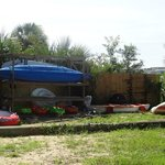 Boats and fun water toys guests can borrow