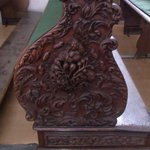 church pew carving