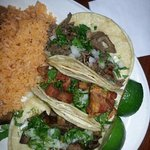 the lengua, cecina and chicharron tacos