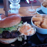 gorgeous burger with blue cheese