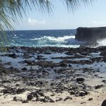 Rocky shore and blow holes