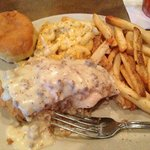 Chicken Fried Chicken, Mac-n-Cheese, and Fries