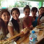 enjoying Allo pizza with my hula sisters!