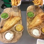 Fresh Beer Battered Haddock, Fat Chips & Pea Puree