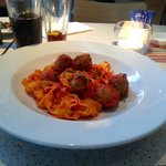 Fettucce Con Polpette - Egg pasta ribbons and homemade meatballs in a rich tomato and basil sauc