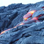 More flowing lava 10 metres away from us