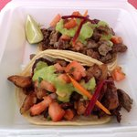 Steak taco and pork taco