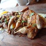 Pan roasted quail