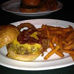 Cheese burger w/ sweet potato fries