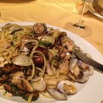 Pasta with swordfish, mussels and clams