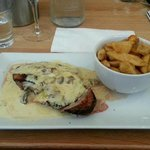 Duck breast with mushroom and leek sauce and chips