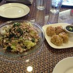 Larb on left, Thai steamed dumplings on right.