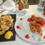 calamari and prawn and strawberry starters