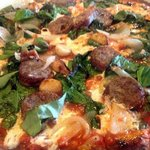 Spinach and Sausage Pizza