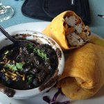 Halibut wrap with black beans