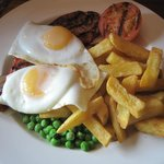 Gammon, egg, chips and peas