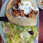 chicken souvlaki with Greek salad