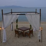 'Dining under the stars' table on the beach