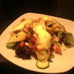 Bruchetta Dish, Brie Cheese served with mixed Seasonal salads and a Jalapeno Relish