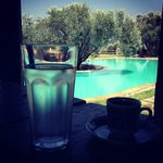 Turkish coffee while overviewing the pool
