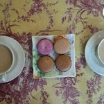 Great array of coffees and baked goods. The nutella macaroons, like this little French cafe, is