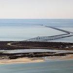 Aerial view of the Chesapeake Bay Bridge-Tunnel