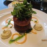 Starter -Fish Cakes with Wholegrain Mustard, chives and garlic aioli