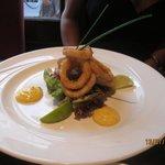 Starter-Deep Fried Calamari with saffron and citrus rouille