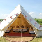 Interior of one of our bell tents for hire