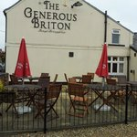 Outside seating at the Generous Briton