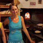inside the wooden stove