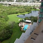 Looking down on the pool closest to the hotel