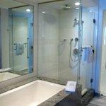 Shower & large soaker tub, bathsalts provided