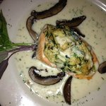Delicious salmon w/crab, portabello mushrooms w/light sauce